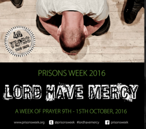 Prisons Week leaflet 2016 - a man is bent down in the posture of prayer with his head to the ground. The wording underneath says Prison Week 2016, Lord Have Mercy, A Week of Prayer 9th-15th October 2016