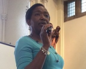Pamela Leonce, Langley's Corporate Operations Director, talking at the staff conference.