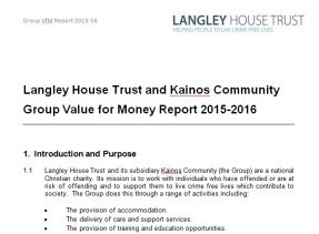 Front page of the Langley House Trust and Kainos Community Group Value for Money Report 2015-2106